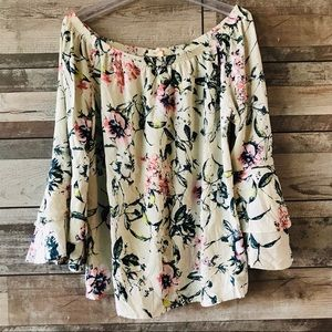 Solitaire floral off shoulder 100% rayon